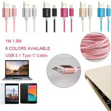 1M Nylon Braided USB Aluminum Fast Charger Type C Data Sync Cable 2.1A for USB Type-C OnePlus2 ZUK-Z1 Xiaomi Mi 4c Letv NOKIA N1