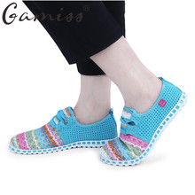 Gamiss Summer Flat Shoes Woman Casual Flats Lace-Up Rainbow Strip Outdoor Women Flat Shoes Plus Size Unisex Lover Flat Shoes
