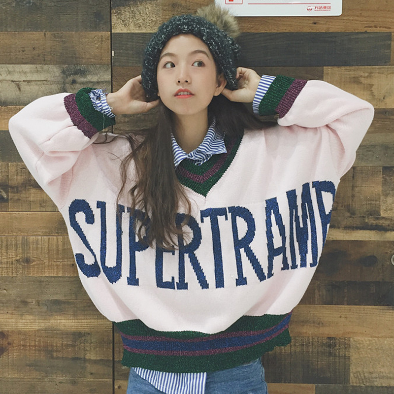 Autumn's 2017 new Korean alphabet V collar Pullover loose bat sleeve sweater coat Winter Women Harajuku Pullovers Sweater