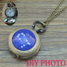 Vintage 12 Constellation design Pocket Watch Necklace Pendant Quartz Watch 12 Zodiac bronze fob watches custom personal picture(China)