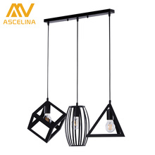 Multi-shape LOFT geometry combinating pendant light country retro iron cage lamp Creative restaurant bar home lighting