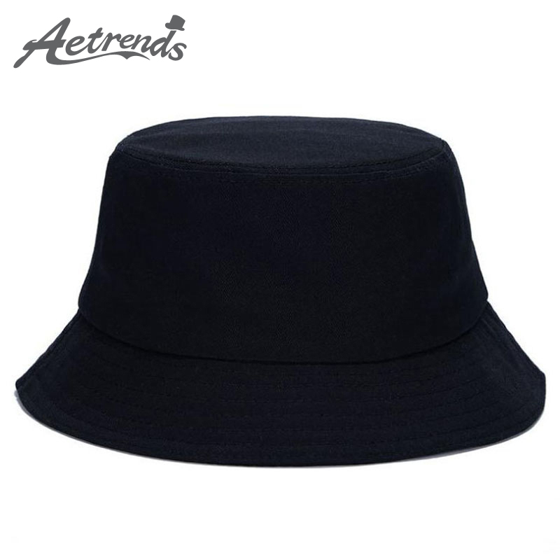 AETRENDS 2017 Hot Sale 7 Solid Colors Bucket Hats for Women Men Panama Bucket Cap