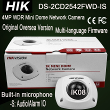 Hik DS-2CD2542FWD-IS 4MP WDR Mini Dome Built-in microphone, Audio Output, Alarm IO IP Camera IK08 IR10m HD1080P 3-axis adjust