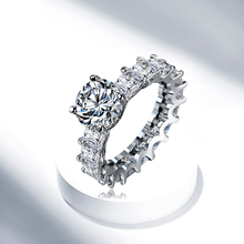 H:HYDE Exquisite Jewelry Round Cut White Nice Band Silver Wedding Engagement Ring For Women Size 6 7 8 9 Wholesale