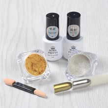 5pcs/set Shinning Mirror Glitter Powder Nail Art Chrome Pigment Base Coat Top Coat UV Gel Kit Brush(China)