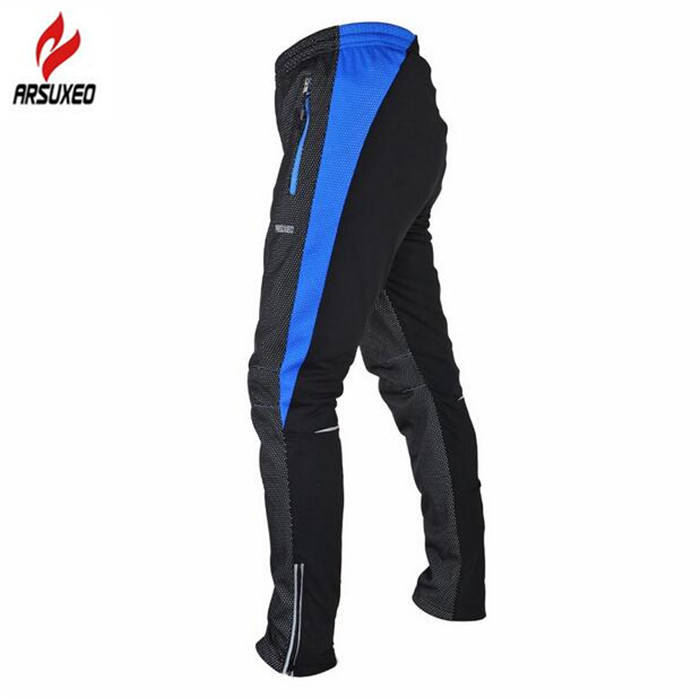 ARSUXEO Winter Cycling Pants Warm Up Thermal Fleece MTB Bike Bicycle Pant Windproof Bicycle Cycling Bike Racing Pants<br>