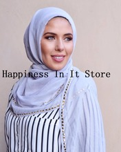 Free Shipping New Arrival Solid Rivet Sequin Scarf Charm High Quality Gold Cotton Studs Beaded Shawl Muslim Hijab