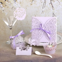 Lilac Theme Rose Design Cupcake Wrappers,Napkin Ring,Cup Card,Invitation Card,Table Favors and Gift Wedding Party Decoration