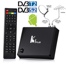 Genuine K1 PLUS DVB-T2 Terrestrial + DVB-S2+ H.265 Android 5.1 1G/8G KODI TV Box Satellite Receiver Support Biss Ccamd Newcamd(China)