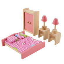 6pcs/set Wooden Dollhouse Doll Furniture Bedroom Set with Mini Double Bed Lamp Table Closet