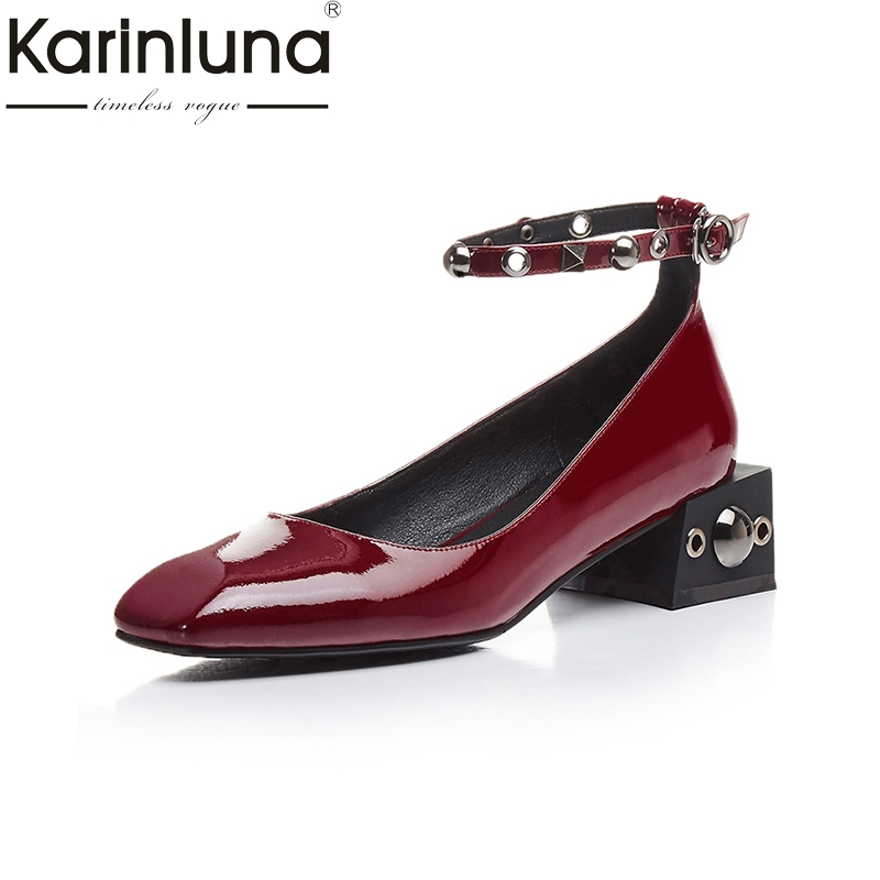 KARINLUNA Spring And Autumn Pumps Buckle Strap Square Toe Strange Style Comfortable Shoes Women Shoes Genuine Leather Rivet<br>