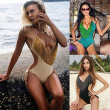 Buy New sexy high waist cut one piece women swimsuit tassel push swimwear bodysuit halter bandage beach bathing suit