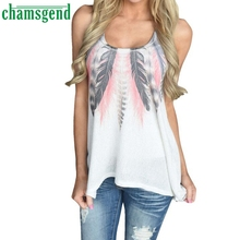 CHAMSGEND Good Deal plus size S-XL 2017 New Women Feather Sleeveless Shirts Casual T-Shirt 1PC
