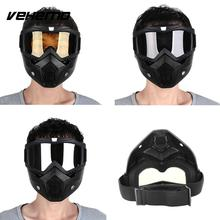 Vehemo Modular Detachable Goggles And Mouth Filter Open Face Motorcycle Half Helmet