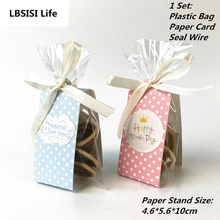 20Sets Cookie Lollypop Candy Bread Plastic Packing Bags Boxes Pink Blue Dot Clear Party Gift Chocolate Wedding Self Stand Bag