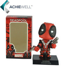 Marvel Cute Version X-Men Shaking Deadpool Action Figure Anime Model For Fan Collection Children Toys Gifts Car Decoration Doll