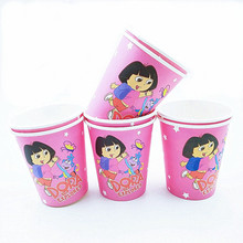 10pcs Dora The Explorer Cup Cartoon Theme Party For Children/Girls Happy Birthday Decoration Theme Party Supplies Festival