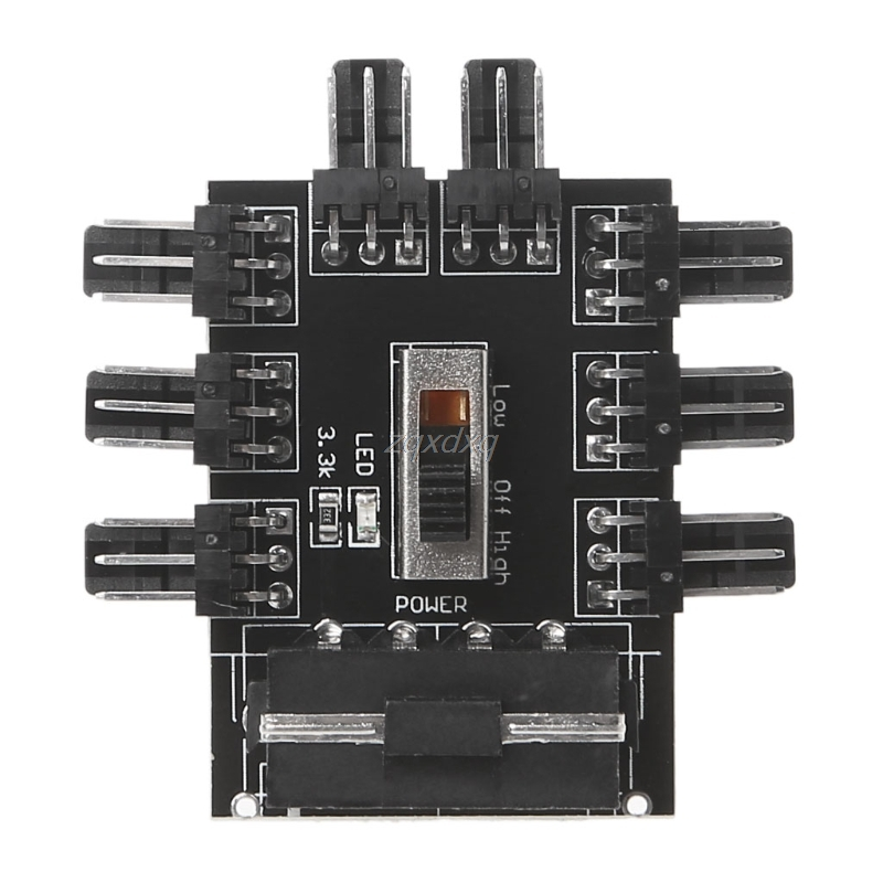 PC 1 to 8 4Pin Molex Cooler Cooling Fan Hub Splitter Cable PWM 3Pin Power Supply Speed Controller Adapter For PC Mining S07