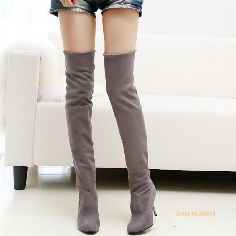 Plus Size 34-43 Hot 2017 Autumn Winter Women Boots High Heels Nubuck leather Long Thigh High Boot Over The Knee Women Shoes<br><br>Aliexpress