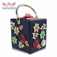 Natassie Brand New Design Box Flower Handbags Women Pearl Party Bag Ladies Evening Bag Wedding Day Clutches Handbag(China)