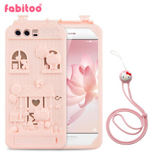 For Huawei P10 5.1 inch 3D Cute Cartoon Fabitoo Hello Kitty Soft Silicone Back Cover Case With Lanyard Stand Holder