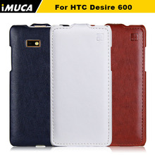 iMUCA Case for HTC Desire 600 High Quality Vertical Flip Leather Case Cover Pouch for HTC Desire 600 606W W/ Original Box