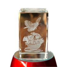 Butterfly Figure Paperweight 3D Laser Etched Crystal crafts Display Light Base Decor home decor holiday decoration&gift Mascot