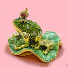 European Chinese style Metal enamel painted crafts Lotus frog prince, home decoration desktop ornaments(A515)