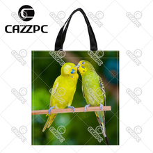 Couple Lover of Parrots bird on Branch Print Custom individual waterproof Nylon Fabric shopping bag gift bag Pack of 2