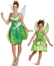 Free shipping,Children Adult Halloween flower fairy tinker bell for women elf Tinkerbell Princess dress skirt costume with wing