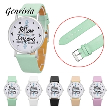 GENVIVIA Fashion Luxury Brand Wristwatch Women Watch Follow Dreams Words Pattern Leather Watch 5 Colors relojes hombre 2017(China)