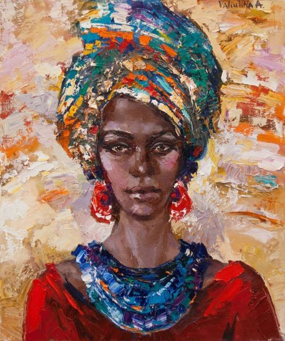 Handmade Modern Abstract African woman portrait knife canvas oil painting wall Decorative hand painting Sexy lady pictures 443