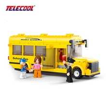 TELECOOL Assembled Building Blocks Mini School Bus toy Children Educational Blocks For Kids Christmas Gift(China)
