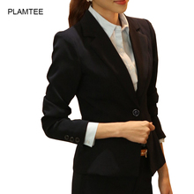 All Match Black Blazer Mujer Single Button Slim Fit Casaco for Women Clothing Plus Size Elegant Jaqueta Femme with Pocket Coats