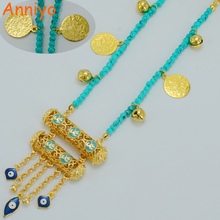 Anniyo Muhammad Necklaces Women/Girl Gold Color Muslim Kurdish Chain Islam Middle East Kids/Child Jewelry Blue Eye #003601(China)