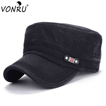 VONRU German Military Hats for Men New Retro Luxury Casual Women Baseball Cap Washed Cotton Black Army Hat for Summer(China)