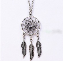 Cheap Hot Sell! 10pcs Ancient Silver Dreamcatcher Feather Charm Statement Necklace DIY Fashion Jewelry Free Shipping B913(China)