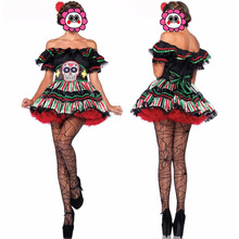 Newest 2016 Adult Skeleton Day of The Dead Costume Women Sexy Sugar Skull Flower Fairy Halloween ghost vampire Bride Fancy Dress