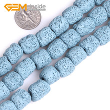 "Big hole (3mm) 12x14mm cloumn Colorful Volcanic Sponge Lava Gem stone Beads For Jewelry Making Strand 15"" Necklace DIY(China)"