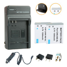 2Pcs 1300mAh NB-6L NB-6LH NB6L Battery +Charger+Car Charger For Canon Digital IXUS 85 IS PowerShot S90 Digital IXUS 95 IS Camera