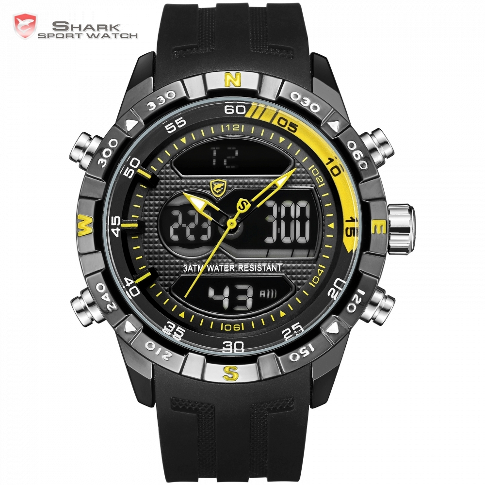 New Design SHARK Men Stopwatch Calendar Auto Date Alarm LCD Clock Dual Time Silicone Band erkek kol saati Dress Watches / SH599<br>