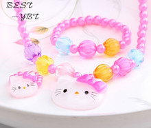 Summer Style 1set=3pcs Candy Beads hello kitty Accessories Necklace Bracelets Rings Accessories Girls accessories