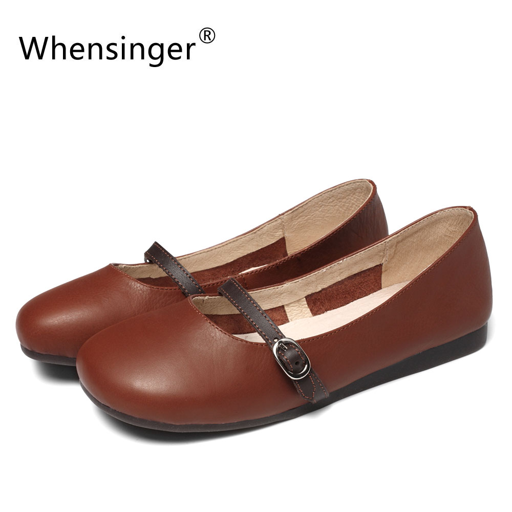 Whensinger - 2018 New Women Shoes Spring Autumn Style Genuine Leather Flats<br>