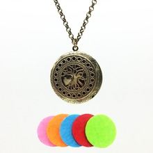 1pc Antiqued Bronze Hollow Tree Of Life Design Alloy Fragrance Essence Oil Aroma Diffuser Locket Trendy Pendant Necklace Jewelry