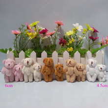4cm to 4.5cm, 6cm Mini Stuffed Jointed Bear,Teddy Bear Long wool bears,plush toys cartoon bouquet 5colors to choose 100pcs/lot