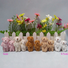 4cm to 4.5cm, 6cm Mini Stuffed Jointed Bear,Teddy Bear Long wool bears,plush toys cartoon bouquet 5colors to choose 100pcs/lot(China)