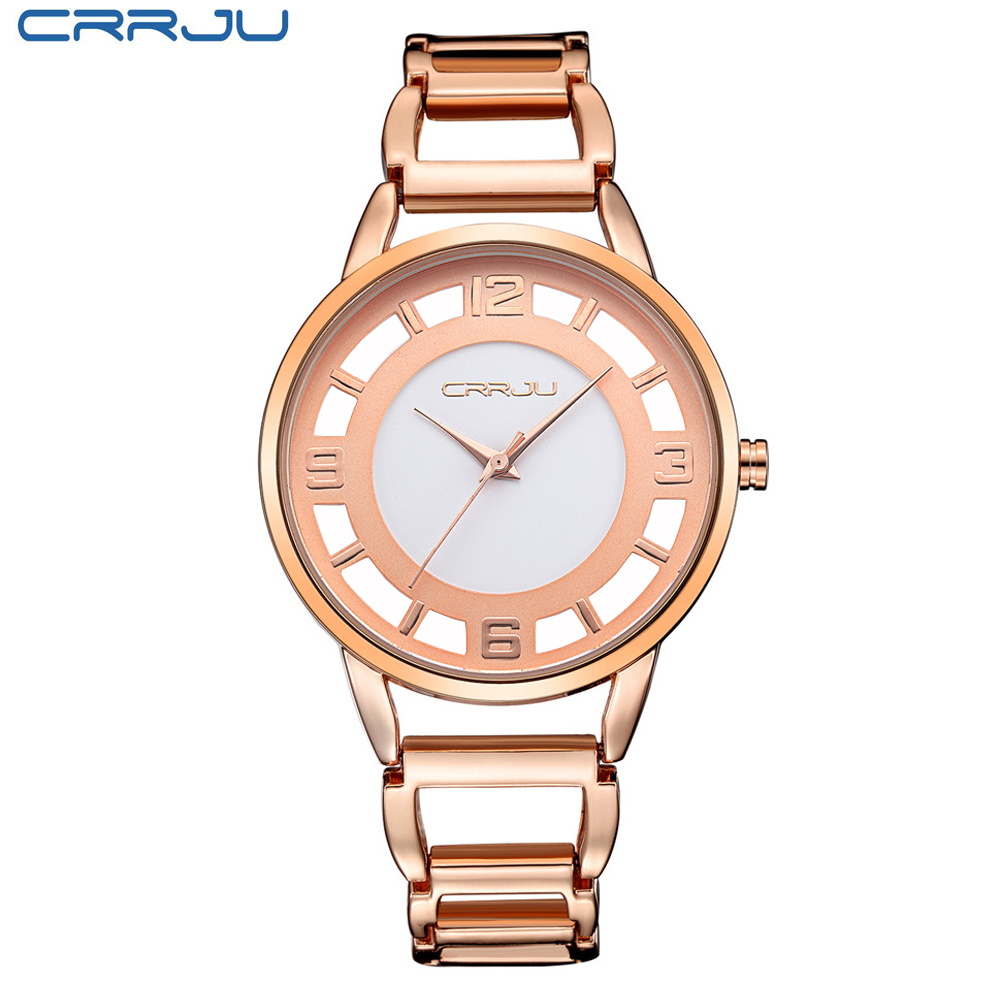 CRRJU Luxury Famous Brand Women Quartz Watches Ladies Rose Gold Stainless Steel Relo Relogio Clock Dress <br><br>Aliexpress