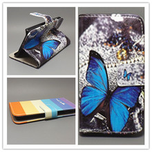 New Butterfly Flower Flag Designer Wallet Flip Stand Book Cover Case For HTC G13 Wildfire S A510E free shpping
