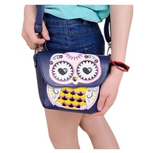 Hot Fashion Lovey Mini Owl Print Pattern Rivet Courier Bag Sweet Gilrs CrossBody Bag PU Leather Shoulder Bag(China)
