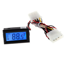 ACEHE Digital Thermometer LCD Meter Gauge Detector PC Car Mod C/F Molex Panel Mount Car Boats Measuring Temperature Tool(China)